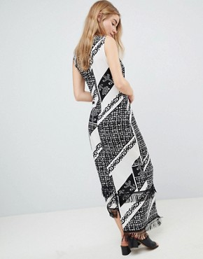photo Printed Midi Dress with Fringe Detail by Parisian, color Black/White - Image 2