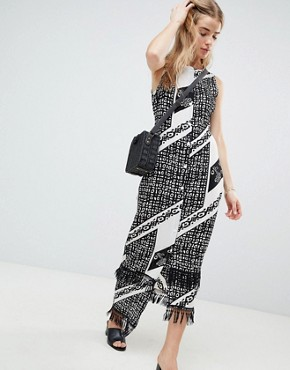 photo Printed Midi Dress with Fringe Detail by Parisian, color Black/White - Image 1