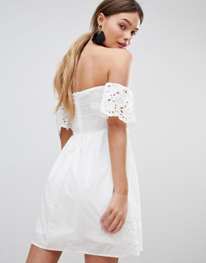 photo Off Shoulder Broderie Dress with Bow by Parisian, color White - Image 2