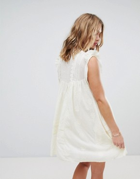 photo Nobody Like You Embroidered Mini Dress by Free People, color Ivory - Image 2