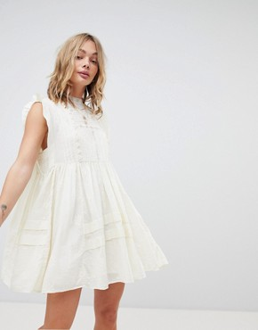photo Nobody Like You Embroidered Mini Dress by Free People, color Ivory - Image 1