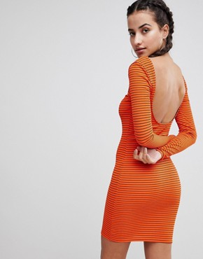 photo Striped Square Neck Ribbed Dress by PrettyLittleThing, color Orange - Image 2
