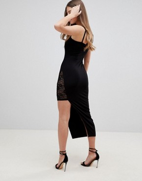 photo Maxi Slip Dress with Asymmetric Hem and Lace Thigh Insert by ASOS DESIGN, color Black - Image 2