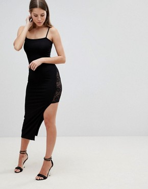 photo Maxi Slip Dress with Asymmetric Hem and Lace Thigh Insert by ASOS DESIGN, color Black - Image 1