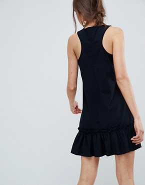 photo Racer Pep Hem Mini Dress by ASOS DESIGN, color Black - Image 2