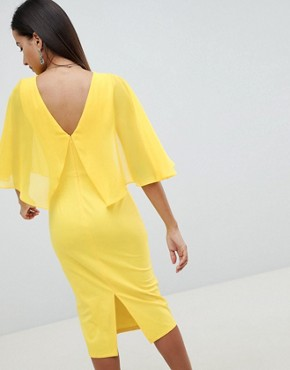 photo Woven Mix Cape Back Pencil Dress by ASOS DESIGN, color Yellow - Image 2