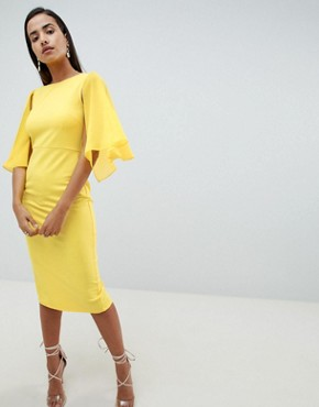 photo Woven Mix Cape Back Pencil Dress by ASOS DESIGN, color Yellow - Image 1