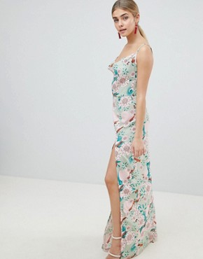 photo Floral Maxi Dress with Side Split by PrettyLittleThing, color Green - Image 1