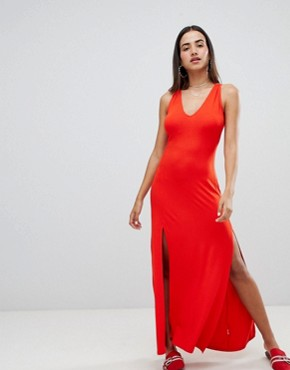 photo Maxi Swing Dress with Double Split and Strappy Neck by ASOS DESIGN, color Red - Image 1