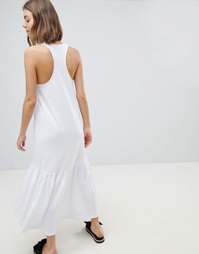 photo Maxi Dress with Racer Back and Hi Lo Pep Hem by ASOS DESIGN, color White - Image 2
