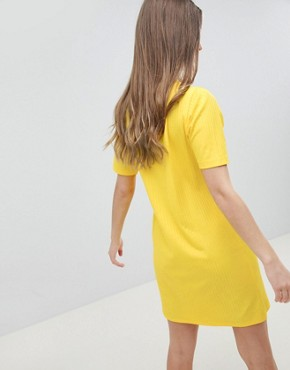 photo Mini t-shirt Dress in Slinky Rib by ASOS DESIGN, color Yellow - Image 2