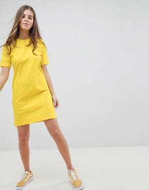 photo Mini t-shirt Dress in Slinky Rib by ASOS DESIGN, color Yellow - Image 1