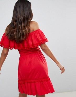 photo Off Shoulder Midi Sundress with Broderie and Pom Pom Trim by ASOS DESIGN, color Red - Image 2