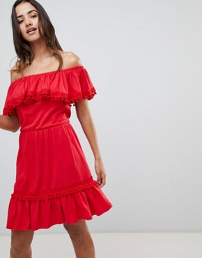 photo Off Shoulder Midi Sundress with Broderie and Pom Pom Trim by ASOS DESIGN, color Red - Image 1