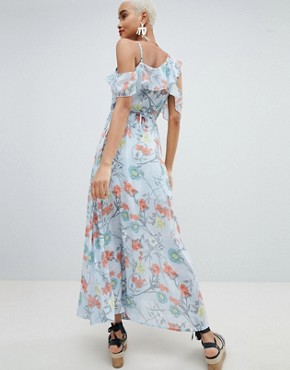 photo Floral Wrap Maxi Dress by PrettyLittleThing, color Blue - Image 2