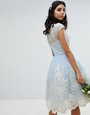 photo Lace Midi Prom Dress with Bardot Neck by Chi Chi London Premium, color Bluebell/Gold - Image 2