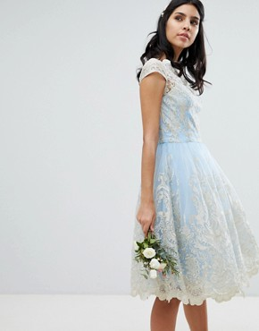 photo Lace Midi Prom Dress with Bardot Neck by Chi Chi London Premium, color Bluebell/Gold - Image 1