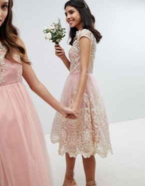 photo Lace Midi Prom Dress with Bardot Neck by Chi Chi London Premium, color Vintage Rose/Gold - Image 2