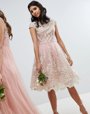 photo Lace Midi Prom Dress with Bardot Neck by Chi Chi London Premium, color Vintage Rose/Gold - Image 1