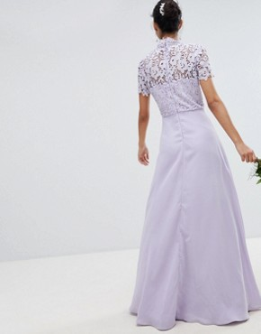 photo 2 in 1 High Neck Maxi Dress with Crochet Lace by Chi Chi London, color Lavender Grey - Image 2