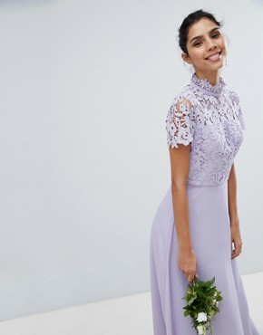 photo 2 in 1 High Neck Maxi Dress with Crochet Lace by Chi Chi London, color Lavender Grey - Image 1