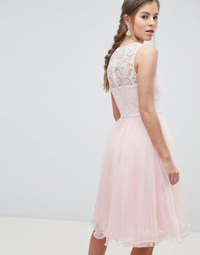 photo Midi Tulle Prom Dress with Premium Lace Bodice by Chi Chi London, color Pastel Pink - Image 2