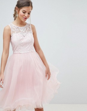 photo Midi Tulle Prom Dress with Premium Lace Bodice by Chi Chi London, color Pastel Pink - Image 1