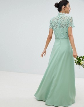 photo 2 in 1 High Neck Maxi Dress with Crochet Lace by Chi Chi London, color Green Lily - Image 2