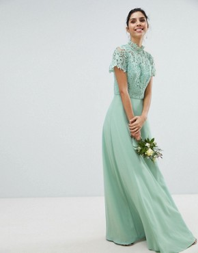 photo 2 in 1 High Neck Maxi Dress with Crochet Lace by Chi Chi London, color Green Lily - Image 1