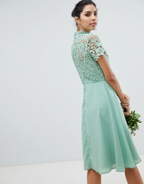 photo 2 in 1 High Neck Midi Dress with Crochet Lace by Chi Chi London, color Green Lily - Image 2