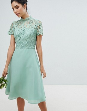 photo 2 in 1 High Neck Midi Dress with Crochet Lace by Chi Chi London, color Green Lily - Image 1