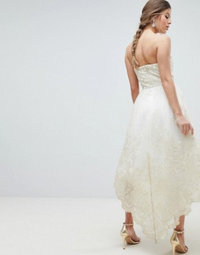 photo Lace Bardot Prom Dress with Extreme High Low Hem by Chi Chi London Premium, color Cream/Gold - Image 2