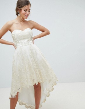 photo Lace Bardot Prom Dress with Extreme High Low Hem by Chi Chi London Premium, color Cream/Gold - Image 1
