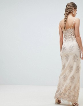 photo Scalloped Plunge Maxi Prom Dress with Gold Embroidery by Chi Chi London, color Nude/Gold - Image 2