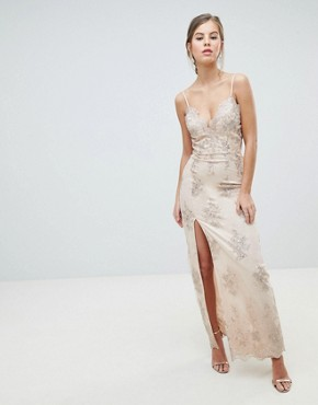 photo Scalloped Plunge Maxi Prom Dress with Gold Embroidery by Chi Chi London, color Nude/Gold - Image 1