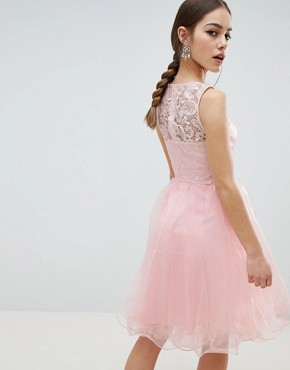 photo Midi Tulle Prom Dress with Premium Lace Bodice by Chi Chi London Petite, color Pastel Pink - Image 2