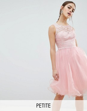 photo Midi Tulle Prom Dress with Premium Lace Bodice by Chi Chi London Petite, color Pastel Pink - Image 1