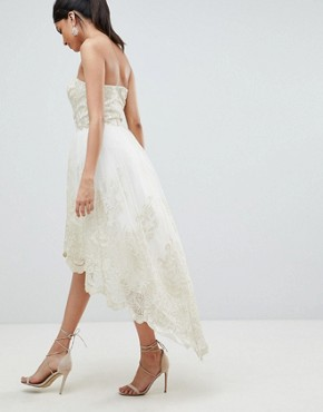 photo Lace Bardot Prom Dress with Extreme High Low Hem by Chi Chi London Tall Premium, color Cream/Gold - Image 2