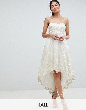 photo Lace Bardot Prom Dress with Extreme High Low Hem by Chi Chi London Tall Premium, color Cream/Gold - Image 1
