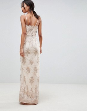 photo Scalloped Plunge Maxi Prom Dress with Gold Embroidery by Chi Chi London Tall, color Nude/Gold - Image 2