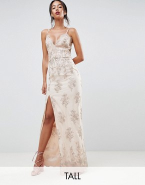photo Scalloped Plunge Maxi Prom Dress with Gold Embroidery by Chi Chi London Tall, color Nude/Gold - Image 1