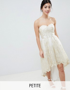 photo Lace Bardot Prom Dress with Extreme High Low Hem by Chi Chi London Petite Premium, color Cream/Gold - Image 1