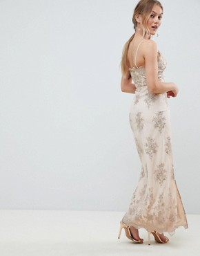 photo Scalloped Plunge Maxi Prom Dress with Gold Embroidery by Chi Chi London Petite, color Nude/Gold - Image 2
