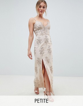 photo Scalloped Plunge Maxi Prom Dress with Gold Embroidery by Chi Chi London Petite, color Nude/Gold - Image 1