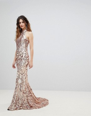 photo High Neck Embellished Maxi Dress by Bariano, color Rose Gold Sequin - Image 1