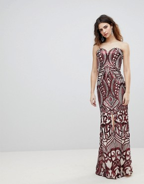 photo Embellished Bandeau Maxi Dress by Bariano, color Red Sequin - Image 1