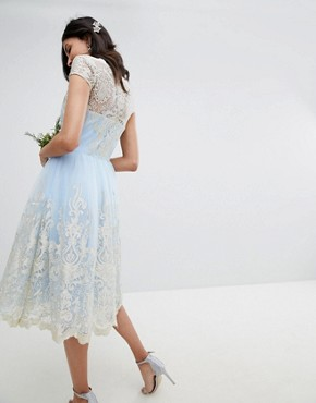 photo Lace Midi Prom Dress with Bardot Neck by Chi Chi London Tall Premium, color Bluebell/Gold - Image 2