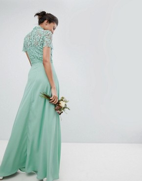 photo 2 in 1 High Neck Maxi Dress with Crochet Lace by Chi Chi London Tall, color Green Lily - Image 2