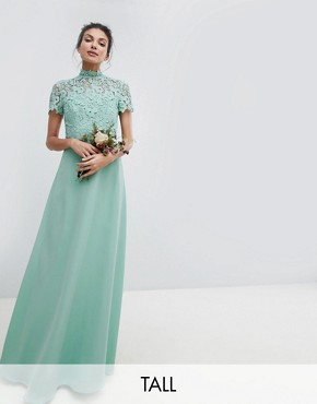 photo 2 in 1 High Neck Maxi Dress with Crochet Lace by Chi Chi London Tall, color Green Lily - Image 1