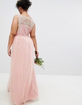 photo Sleeveless Maxi Dress with Premium Lace and Tulle Skirt by Chi Chi London Plus, color Vintage Rose/Gold - Image 2